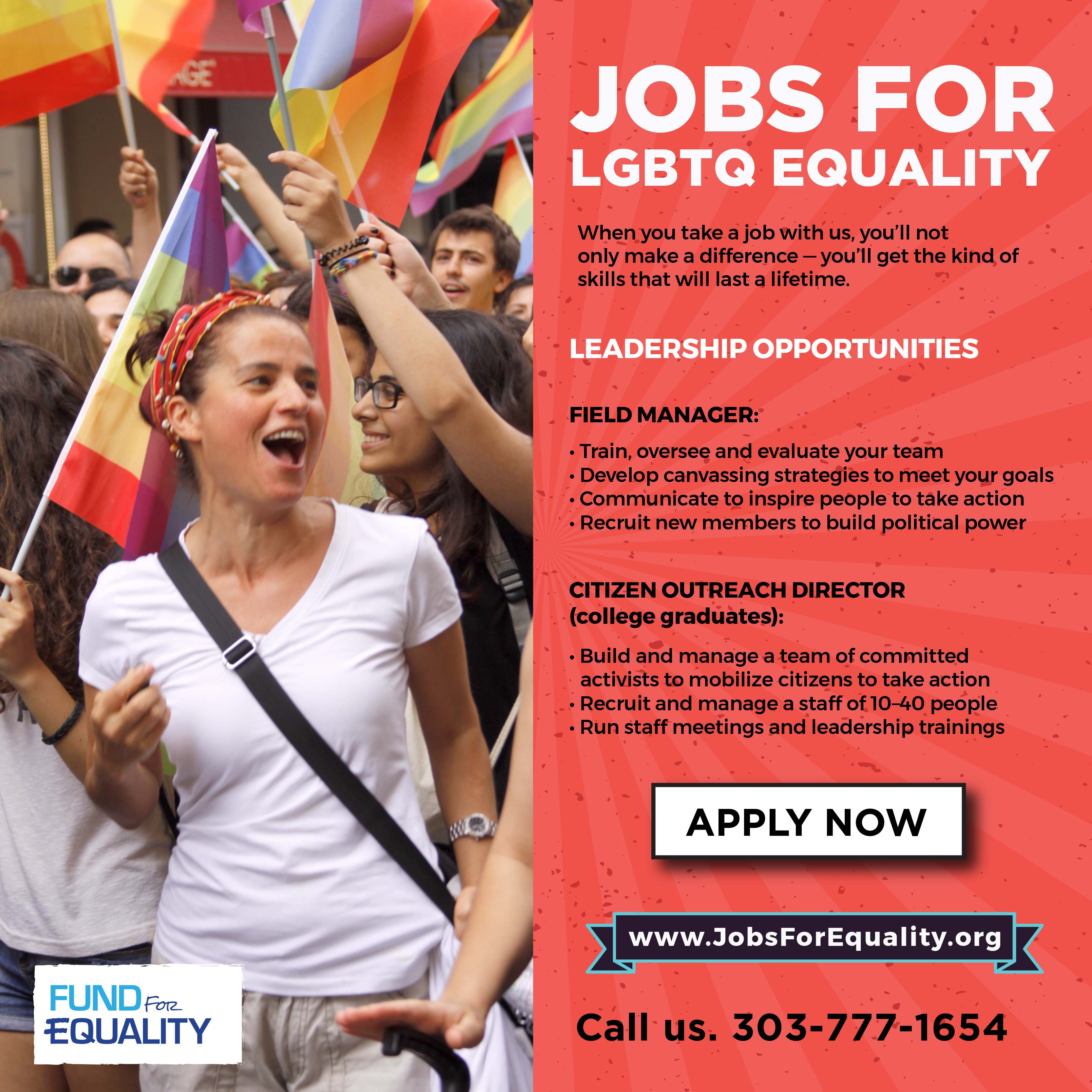 Fund for Equality is hiring people to work for LGBTQ equality. Apply for a job today.