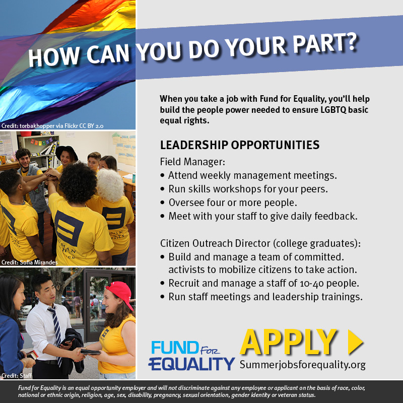 Leadership opportunities available when you work with Fund for Equality. Learn more and apply at summerjobsforequality.org.